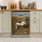 Rooster It's Time To Wake Up And Smell The Coffee Dishwasher Cover Sticker Kitchen Decor