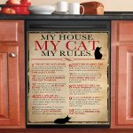 My House My Cat My Rules Dishwasher Cover Sticker Kitchen Decor