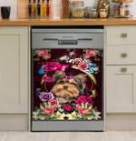 Ln Yorkshire Terrier Rose Pattern All Over Dishwasher Cover Sticker Kitchen Decor