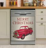 Merry Christmas Home For The Holidays Red Truck Dishwasher Cover Sticker Kitchen Decor