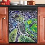 Seaturtle Boho Pattern Ocean Dishwasher Cover Sticker Kitchen Decoration