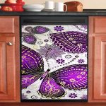 Purple Butterfly Dishwasher Cover Sticker Kitchen Decor