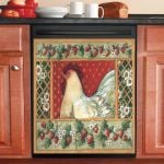 Rooster And Strawberry Dishwasher Cover Sticker Kitchen Decor