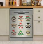 Pug Cosplay Christmas Theme Collection Dishwasher Cover Sticker Kitchen Decor
