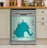 Penguin And Blue Elephant Water Slide Dishwasher Cover Sticker Kitchen Decor
