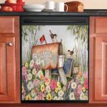 Mailbox Bird And Spring Flower Vintage Dishwasher Cover Sticker Kitchen Decor