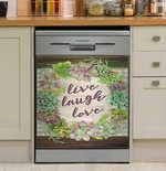 Live Laugh Love Succulents Dishwasher Cover Sticker Kitchen Decor