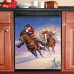 Santa Ride Horse Dishwasher Cover Sticker Kitchen Decor