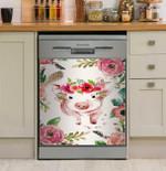Pig Flower Dishwasher Cover Sticker Kitchen Decor