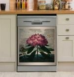 Purple Flower And Butterfly Dishwasher Cover Sticker Kitchen Decor