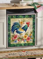 Rooster Green Land Dishwasher Cover Sticker Kitchen Decor