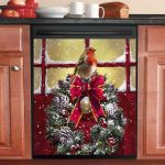 Robin Christmas Dishwasher Cover Sticker Kitchen Decor