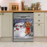 Poodle Snow Dishwasher Cover Sticker Kitchen Decor
