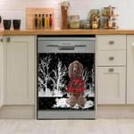 Poodle Snowy Night Dishwasher Cover Sticker Kitchen Decor