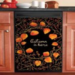 Seasonal Autumn Is Here Black And Orange Dishwasher Cover Sticker Kitchen Decor
