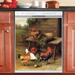 Rooster And Hen Wooden House Dishwasher Cover Sticker Kitchen Decor