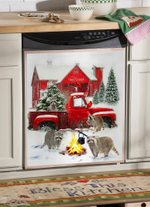 Raccoon Flying Through Snow Dishwasher Cover Sticker Kitchen Decor