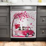 Schnauzer Tree Of Heart Pattern Dishwasher Cover Sticker Kitchen Decor