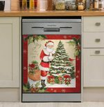 Ornament Christmas Tree Santa Claus Colorful Gifts Dishwasher Cover Sticker Kitchen Decor