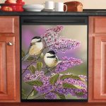 Lilacs And Chickadees Bird Dishwasher Cover Sticker Kitchen Decor