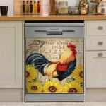 Rooster Vintage Sunflower Dishwasher Cover Sticker Kitchen Decor