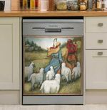 Sheep Following Shepherd Dishwasher Cover Sticker Kitchen Decor