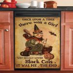 Once Upon Time There Was A Girl Really Loved Black Cat Dishwasher Cover Sticker Kitchen Decor