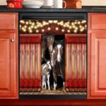 Love Horse Red Door Dishwasher Cover Sticker Kitchen Decor
