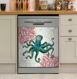 Ocean Finds Coral Octopus Dishwasher Cover Sticker Kitchen Decor
