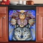 Native Totem Wolf Dishwasher Cover Sticker Kitchen Decor