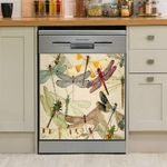 Pretty Dragonflies Flying Colorful Dishwasher Cover Sticker Kitchen Decor