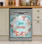 Seas And Greetings Seashell Starfish Dishwasher Cover Sticker Kitchen Decor