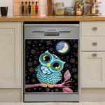 Owl On Branch Pattern Dishwasher Cover Sticker Kitchen Decor