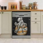 Lonely Giant Octopus On Saturn Dishwasher Cover Sticker Kitchen Decor