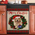 Merry Christmas Golden Retriever Dishwasher Cover Sticker Kitchen Decor