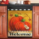 Pumpkin Autumn Welcome Dishwasher Cover Sticker Kitchen Decorr