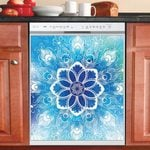 Mandala Blue Flowers Dishwasher Cover Sticker Kitchen Decor