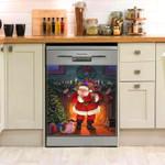 Santa Claus Keep Quiet Dishwasher Cover Sticker Kitchen Decor
