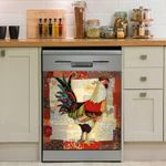 Rooster Abstract Pattern Dishwasher Cover Sticker Kitchen Decor