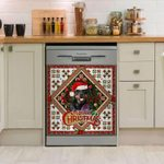 Rottweiler Merry Christmas Pattern Dishwasher Cover Sticker Kitchen Decor