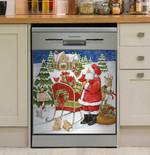 Santa Workshop Gift Dishwasher Cover Sticker Kitchen Decor