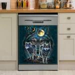 Pack Of Wolf Moon Eclipse Dark Night Dishwasher Cover Sticker Kitchen Decor