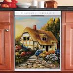 Little Fairy Cottage And Flower Garden Dishwasher Cover Sticker Kitchen Decor