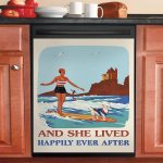 Retro And She Lived Happily Ever After Surfing Girl Chihuahua Dishwasher Cover Sticker Kitchen Decor