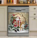 Santa With Deer Snowflake Dishwasher Cover Sticker Kitchen Decor