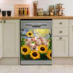 Pig Sun Flower Dishwasher Cover Sticker Kitchen Decor