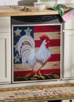 Rooster American Flag Dishwasher Cover Sticker Kitchen Decor