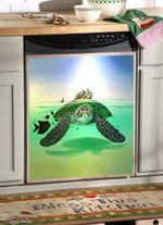 Sea Turtle Coming Dishwasher Cover Sticker Kitchen Decor