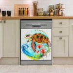 Sea Turtle Flowers Dishwasher Cover Sticker Kitchen Decor