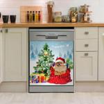 Pomeranian Christmas Gift Tree Dishwasher Cover Sticker Kitchen Decor